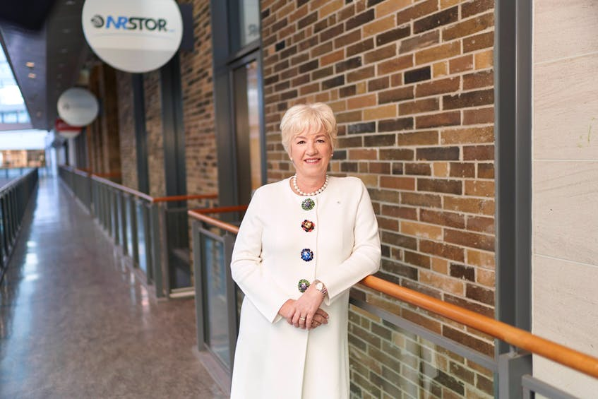 Annette Verschuren, who has spent the past 12 years as chair and chief executive officer of NRStor Inc., is shown in front of company headquarters in Toronto. CONTRIBUTED