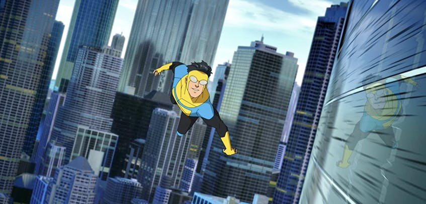 Mark Grayson (Steven Yeun) juggles high school, family and friends while coming to terms with his new superpowers as Invincible in the Amazon Prime series.- AMAZON STUDIOS