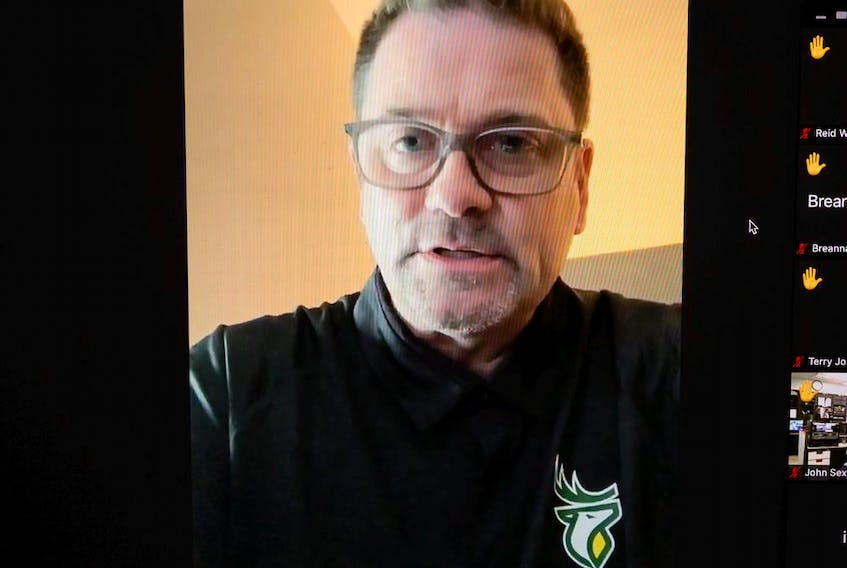 Edmonton Elks President and CEO Chris Presson speaks on a Zoom call about players being tested positive for COVID-19 in Edmonton, on Monday, Aug. 23, 2021. Photo by Ian Kucerak