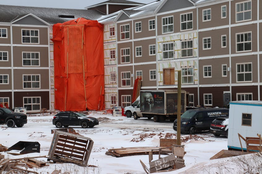 Construction took place at Geneva Place on Towers Road earlier this year. While developers have increasingly focused on construction of rental housing since 2018, tenants are seeing significant rent increases. - Logan MacLean • The Guardian