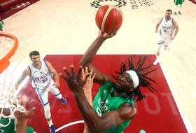 Precious Achiuwa, seen here playing for Team Nigeria at the Tokyo Olympics, is reportedly on his way to Toronto as part of a sign-and-trade involving Kyle Lowry.