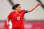 KASHIMA, JAPAN – AUGUST 02: Christine Sinclair #12 of Team Canada reacts during the Women's Semi-Final match between USA and Canada on day ten of the Tokyo Olympic Games at Kashima Stadium on August 02, 2021 in Kashima, Ibaraki, Japan.