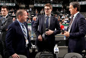 (L-R) John Lilley, Kyle Dubas and Brendan Shanahan of the Toronto Maple Leafs. Lilly is leaving the Leafs to take a job with the Rangers.