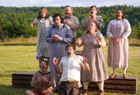 The Two Planks and a Passion Theatre ensemble this year includes, from left, back row: Ursula Calder, Ryan Rogerson, Burgundy Code, and Micha Cromwell; middle row: Henricus Gielis, and Chris O'Neill; and front row: Melanie LeBlanc, and Matthew Lumley. — Logan Robins photo
