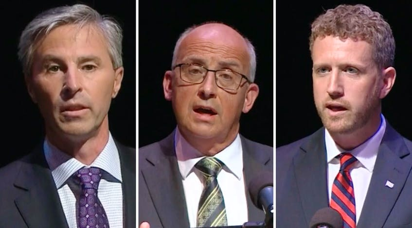 From left, Progressive Conservative leader Tim Houston, NDP leader Gary Burrill and Liberal leader Iain Rankin debate various issues and answered several guests' questions during last week's televised provincial leaders debate in Halifax. CONTRIBUTED - Contributed