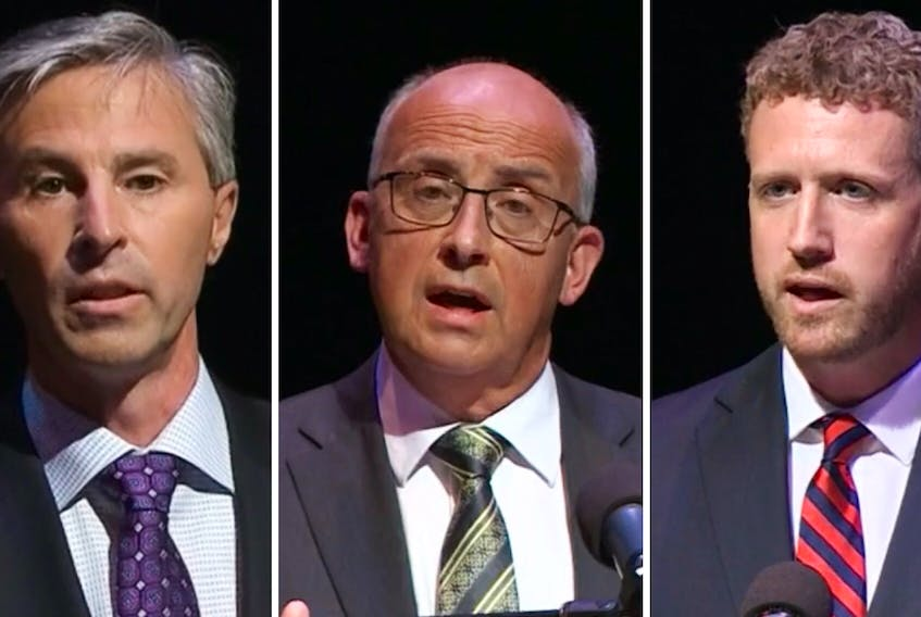 From left, Progressive Conservative leader Tim Houston, NDP leader Gary Burrill and Liberal leader Iain Rankin debate various issues and answered several guests' questions during last week's televised provincial leaders debate in Halifax. CONTRIBUTED