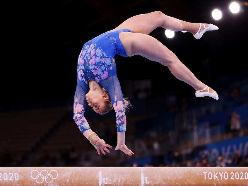 Elsabeth Black of Team Canada competes during the Women's Balance Beam Final on day eleven of the Tokyo 2020 Olympic Games. - Laurence  Griffiths