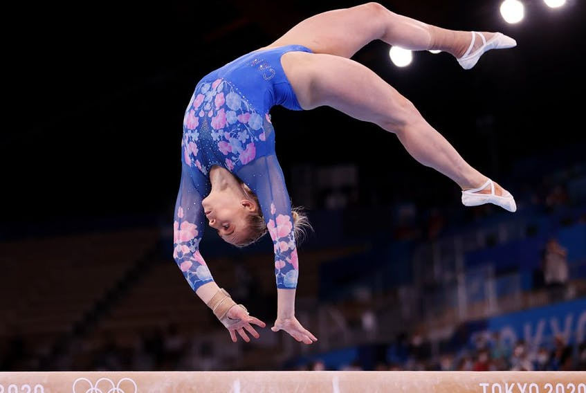 Elsabeth Black of Team Canada competes during the Women's Balance Beam Final on day eleven of the Tokyo 2020 Olympic Games.
