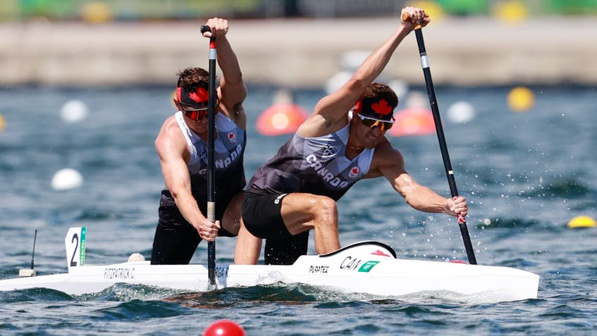 Dartmouth's Connor Fitzpatrick, right competes in the Olympic men's C2 2000 with Roland Varga at the Sea Forest Waterway in Toyko on Monday. - Olympics Canada - Contributed