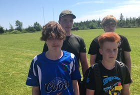 Four Cape Breton under-15 rugby players will suit up for the Nova Scotia Keltics at the Atlantic Canada Rugby Championships in Saint John, N.B., this weekend — Aug. 7-8. Baddeck products Andrew Norman, Jacob Nicholson and Adam Smith as well as Glace Bay's Mitchell Jenkins will be in the team's lineup for the tournament. From left, front row, Jenkins and Smith, back row, Norman and Nicholson. CONTRIBUTED • BROCK FOWNES