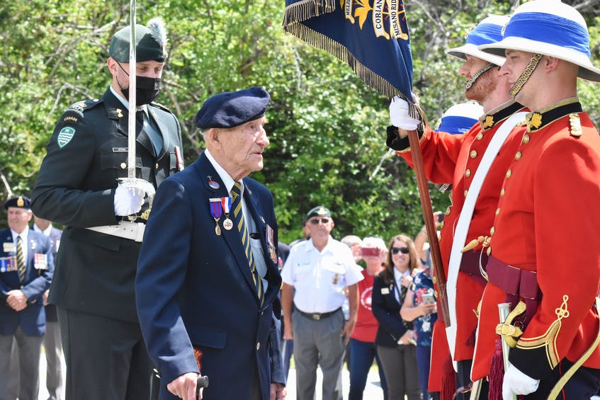 Members of the Princess Louise Fusiliers – the regiment that Second World War veteran Charlie Muise belonged to during the war –  traveled from Halifax to Muise's Tusket, Yarmouth County home to help him celebrate his 100th birthday. TINA COMEAU • TRICOUNTY VANGUARD