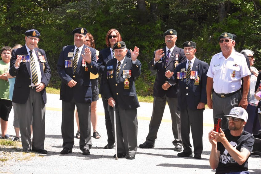 Legion members, in addition to family and friends, turned out on Aug. 3 to help Second World War veteran Charlie Muise celebrate his 100th birthday. TINA COMEAU • TRICOUNTY VANGUARD