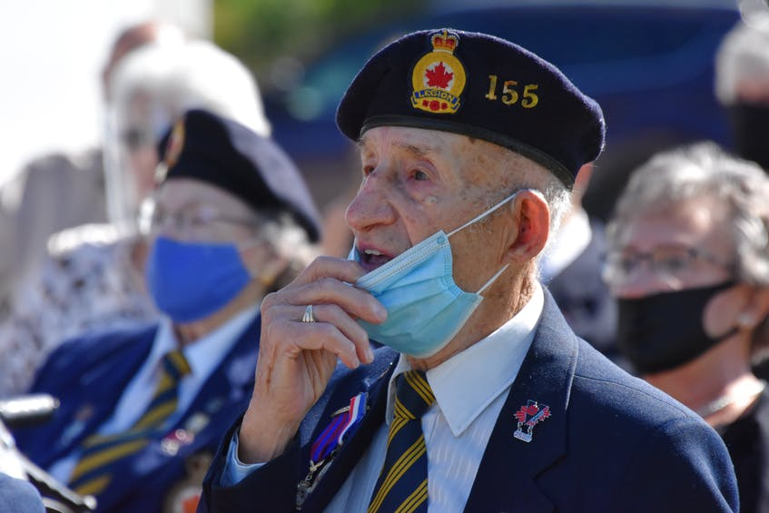 Charles 'Charlie' Muise – 99 years old at the time – and a Second World War veteran and member of Wedgeport Legion Branch 155, adjusted his mask for a few seconds during a Legion anniversary ceremony last September to sing along to Vera Lynn's 'We'll meet again.