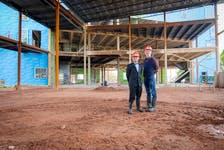 From left to right: Ph.D. Karem Simon and Ph.D. Greg Doran at the construction site of a new UPEI residence building that will include a new performance venue.