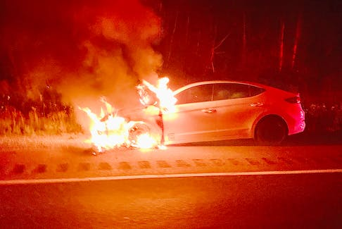 A car fire on July 31 near Exit 8a, Glooscap Landing, resulted in one man being transported to hospital with burns.