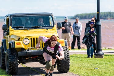 Nicole Kenny competes in the vehicle pull during the fourth annual P.E.I. Strongwoman Competition in Summerside on July 31. Kenny finished first overall. A total of eight women competed in the four events.