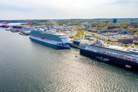 Cruise ships docked on a busy day in Halifax Harbour in 2019. Some destinations are studying the effects the industry has on area residents. Port of Halifax