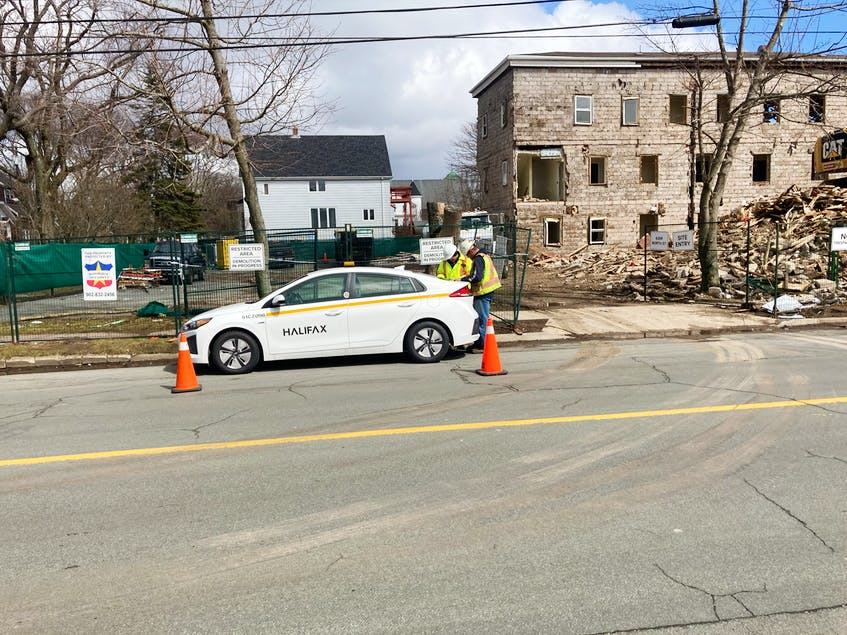 City building inspectors and Occupational Health and Safety inspectors showed up at the site on March 29. Admore Hall Ltd was cited for multiple safety violations and issued a stop-work order. - Andrew Rankin
