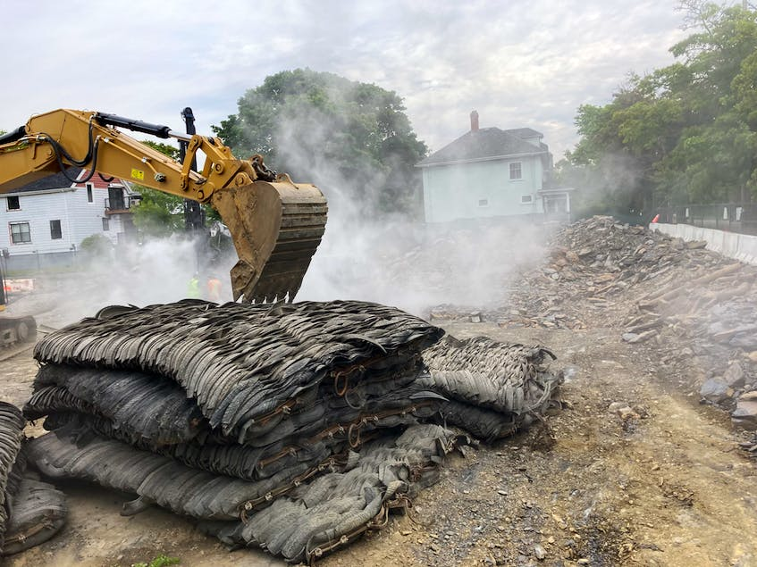 Drilling and blasting have created large amounts of dust at the construction. The city's blasting bylaw requires that dust be kept under control. - Andrew Rankin