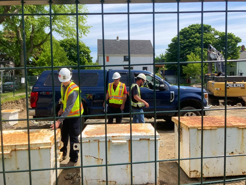 Occupational Health and Safety inspectors show up on the first day of blasting at the site in late June. The blasting contractor was cited for multiple safety violations. - Andrew Rankin