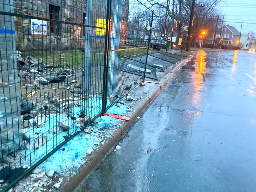 The construction fence along Oxford Street shown collapsed on Monday, March 29, the same day work was halted at the site by Occupational Health and Safety inspectors. - Andrew Rankin