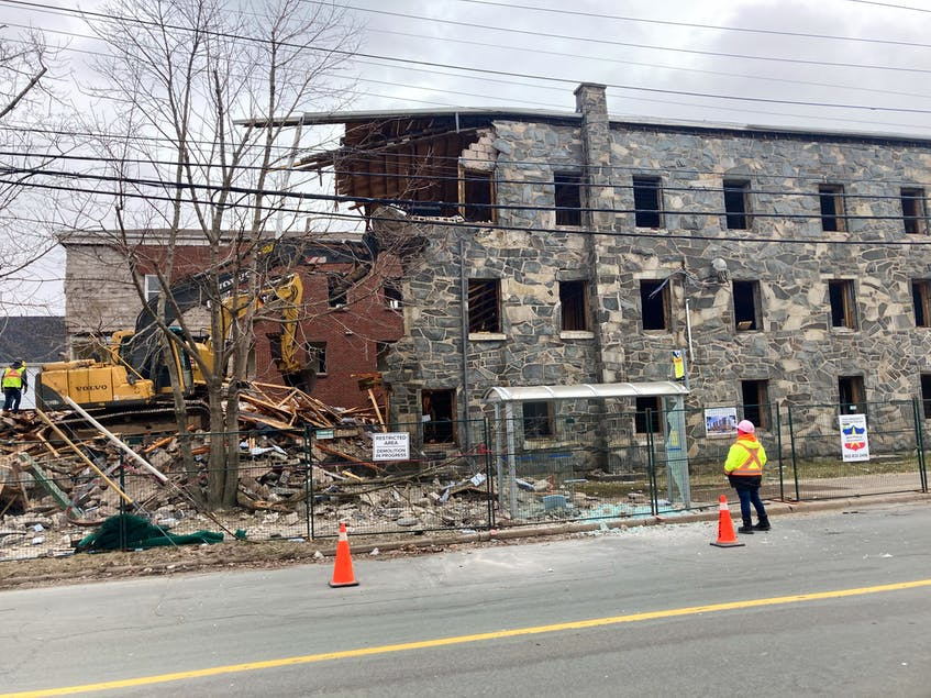 The demolition of Ardmore Hall resumed on the weekend of March 26. Debris from the demolition ended up on Oxford Street without the proper safeguards in place. - Andrew Rankin
