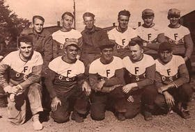 Colliery reps A group of miners from Florence Colliery came together to form a team to play in a local colliery softball league in 1954. The photo was taken at the Florence ballfield. From left, front row, John O'Toole, Alex Coakley, Art Morrison, Bill Cordy and Normie MacLean; back row, Gordie Cordy, Gordie MacLean, Eddie Noble, Earl Ferguson, Elmer Hurley and Percy Barrie. CONTRIBUTED
