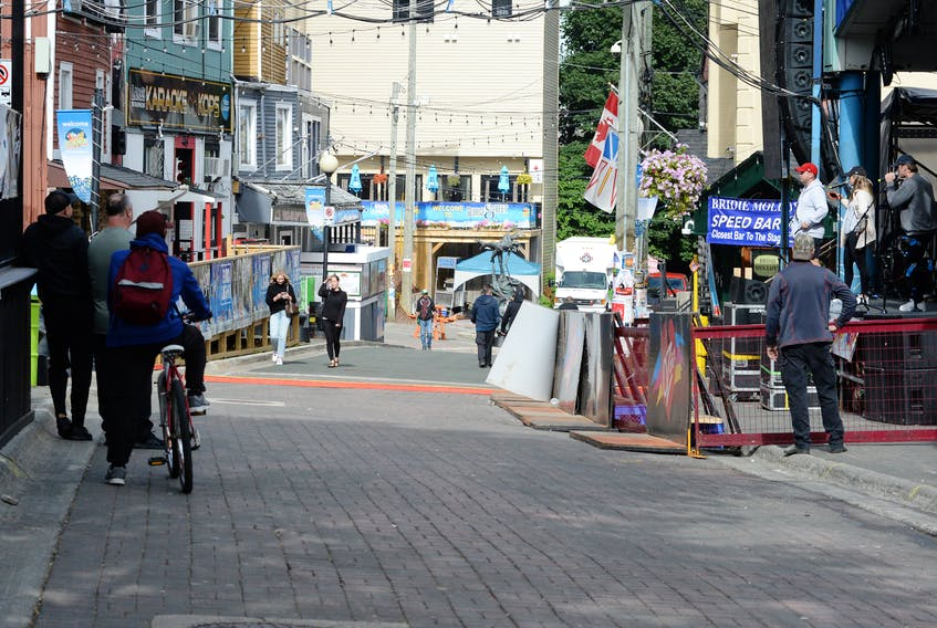 Visitors to George Street Monday afternoon weren't packed in as tight as the crowds who attended a George Street Festival concert the night before.  Keith Gosse/The Telegram