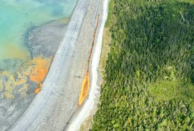 This aerial photo of surface runoff being pumped back into Atlantic Gold's Torquoy Mine in Moose River has raised concerns with environmental advocates.