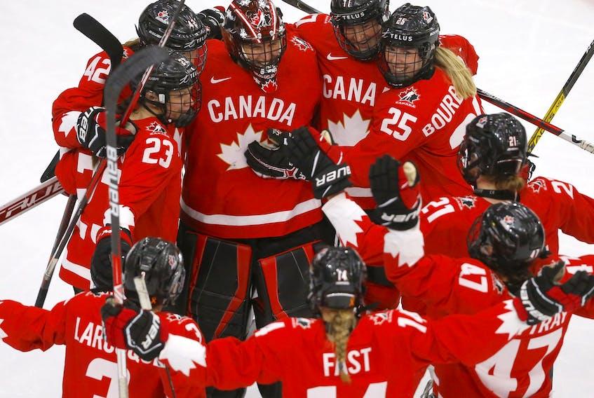Team Canada beats Team Switzerland 4-0 during the 2021 IIHF Women's World Championship semi-finals at the Winsport arena in Calgary on Monday, August 30, 2021. Darren Makowichuk/Postmedia