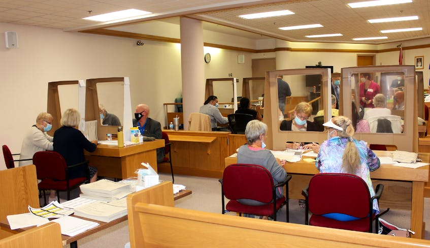 Election workers go through ballots at the Sydney Justice Centre during Monday's recount for the provincial riding of Glace Bay-Dominion. — IAN NATHANSON • CAPE BRETON POST
