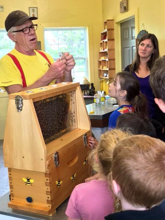 Alex Crouse gives a demonstration to visitors at Wood'n'Hive Honey.  - Contributed