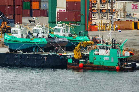 Dominion Diving Ltd.'s Dominion Warrior at work last year in Halifax Harbour. Sustainable Marine Energy recently obtained a similarly versatile vessel, the Tidal Pioneer.  Ryan Taplin - The Chronicle Herald