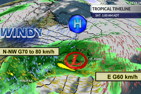 Wind and storm location expected for 1 a.m. Saturday. Cindy Day, SaltWire Network Chief Meteorologist