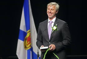 Tim Houston smiles, as he takes the oath of office as Premier, during a swearing-in ceremony for he and his cabinet, at the Halifax Convention Centre on Tuesday, Aug. 31, 2021.  TIM KROCHAK PHOTO