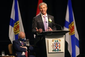 Tim Houston gives his first remarks as the Premier of Nova Scotia, following the swearing-in ceremony for he and his cabinet, at the Halifax Convention Centre on Tuesday, Aug. 31, 2021.  TIM KROCHAK PHOTO