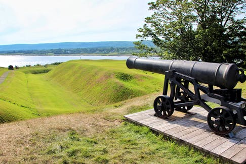The view from Fort Anne cannon down the Annapolis River. Fort Anne was the site of a small fort built by 70 Scottish settlers that began a colony there in 1629, eight years after King James I granted 'Nova Scotia' to Sir William Alexander in 1621.
