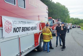 Firefighters unhappy with a new funding model that council passed in June, showed up to the Aug. 3 council meeting to encourage councillors to reconsider their decision. BRIAN CAMERON PHOTO