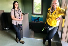 Chloe MacKinnon, left, and Tracie Breskie on the second floor of Island Dog Lodge in East Bay which opened recently. NICOLE SULLIVAN • CAPE BRETON POST
