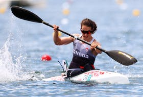Michelle Russell of Fall River in action at the Tokyo Olympics.