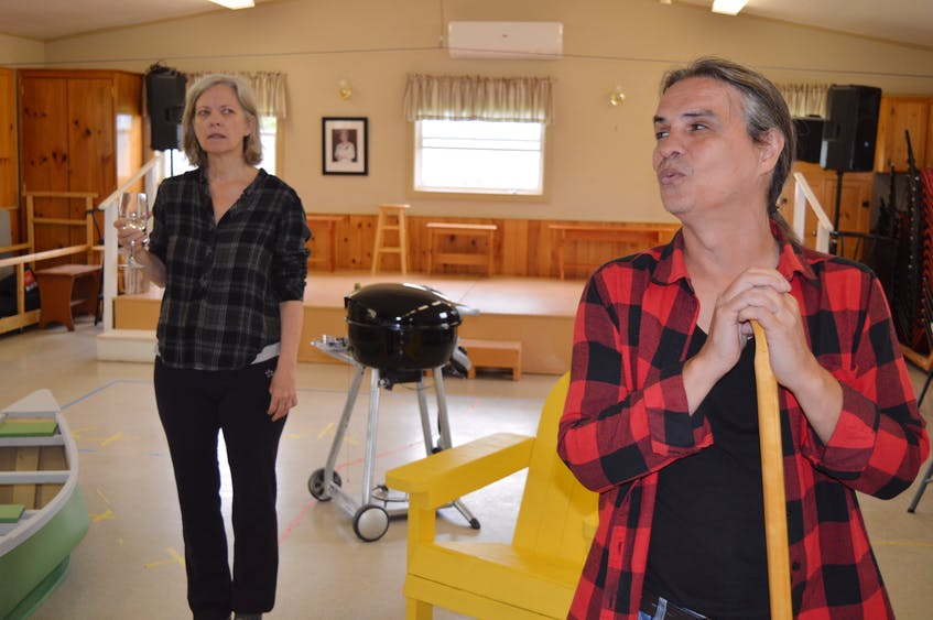 Actors Jan Rudd, left, and Gordon Patrick White rehearse a scene in Cottagers and Indians, a play that will show at the Watermark Theatre in North Rustico, P.E.I., Aug. 10-28. - Dave Stewart