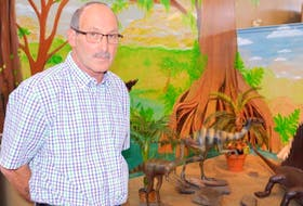 Stuart Critchley, curator of the Sydney Mines Heritage Society, stands in front of a display at the Cape Breton Fossil Centre in Sydney Mines in this file photo. Critchley and society founder Jim Tobin recently stepped aside after spending decades operating the fossil centre, Sydney Mines Heritage Museum and Sydney Mines Sports Museum. CAPE BRETON POST FILE