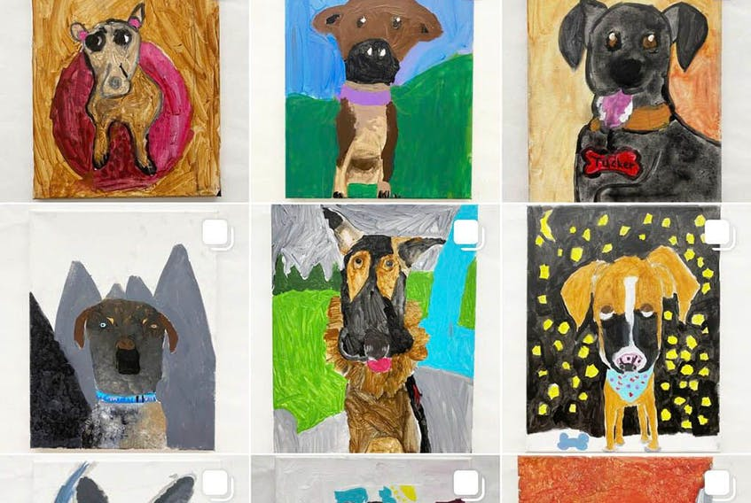 The Empathy Pawject's Instagram account is home to dozens of paintings of adoptable shelter dogs created by Calgary teacher Rebecca Carruthers' Grade 4 art students.