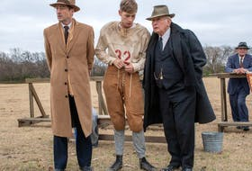 From left, Luke Wilson as Rusty Russell, Jacob Lofland as Snoggs, Martin Sheen as Doc Hall.