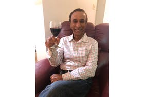 Ross Hamid toasts to the health and happiness of the people of Pictou County as he prepares to move to Alberta.