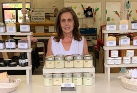 Avril Copestick with her Rowan & Oaks display at the Truro Farmers' Market.