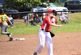 Pictou County's Bailee Kontuk throws across the diamond in an attempt to get a would-be Hammond Plain's baserunner out.