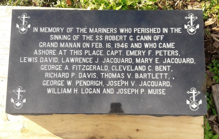 A plaque bearing the names of those who died during a disaster involving the SS Robert G. Cann in February 1946.  - Contributed