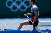 Katie Vincent of Canada reacts after a heat in the Women's C1 200m heat. August 4, 2021 Reuters/Maxim Shemetov