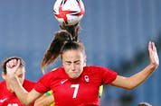 Julia Grosso of Canada in action in the women's quarterfinal match versus Brazil at the 2020 Tokyo Olympics.